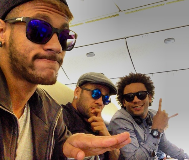 Neymar, Dani Alves, and Marcelo on the way to Asia for friendlies against South Korea and Zambia