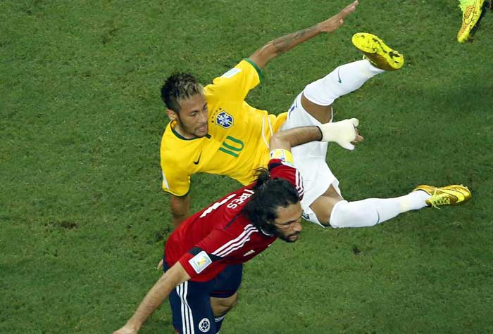 Neymar in action during Brazil's quarter-final battle versus Colombia.