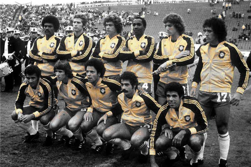Brazil at the 1978 World Cup in Argentina. Back Row: Toninho Baiano, Leão, Edinho, Amaral, Oscar and Batista. Front Row: Gil, Zico, Reinaldo, Rivelino and Toninho Cerezo.